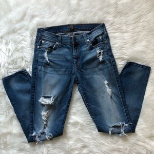 7 for all Mankind Distressed Skinny Jeans 28
